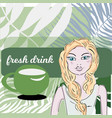 attractive blond woman drinking water at garden vector image