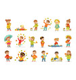 autumn children s outdoor seasonal activities set vector image