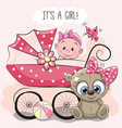 baby girl with baby carriage and teddy bear vector image vector image
