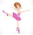 Ballerina girl dancing in pink dress isolated on a vector image