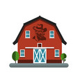 barn symbol with cowboy on wall building icon vector image vector image