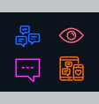 blog chat messages and eye icons social media vector image