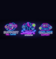 call center collection neon signs support vector image