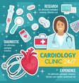 cardiologist doctor cardiology diagnostic clinic vector image vector image