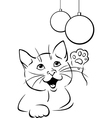 cat playing with xmas ball - black outline vector image vector image