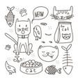 cats line doodle set vector image vector image