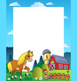 country frame with red barn 4 vector image