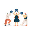 coworkers assembling jigsaw puzzle colleagues vector image