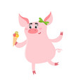 cute pig girl with sweet ice cream isolated on vector image