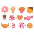cute sweets happy cupcake mascot funny sweet vector image vector image