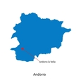 Detailed map of Andorra and capital city Andorra vector image