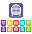 electric heater icons set flat vector image vector image