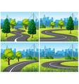 four scenes of city park and roads vector image vector image