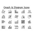 graph chart diagram icon set in thin line style vector image