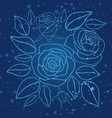 hand drawn blue roses and stars vector image vector image