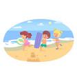 happy children have fun running on beach vector image vector image