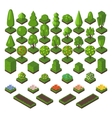 Isometric tree set green forest nature vector image vector image