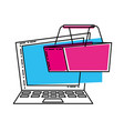 laptop computer with basket shopping vector image vector image