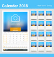 monthly calendar planner for 2018 year design vector image vector image