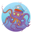 Octopus Wearing Captain Hat and Goggles vector image vector image