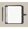 Opened notebook with pen in top view vector image vector image