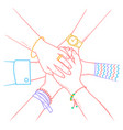 people making pile of hands vector image vector image
