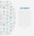 photography concept with thin line icons vector image