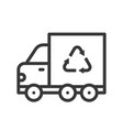 recycle sign on garbage truck icon vector image vector image