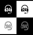 set headphone for support or service icon on black vector image