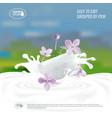 soap with milk splash natural handmade vector image