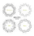 Spicy herb circle frames collection Hand drawn vector image