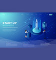 startup technology concept with spaceship vector image vector image