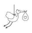 stork with baby bag in black and white vector image vector image