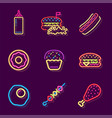 streetfood fast food drink neon sign fastfood vector image vector image