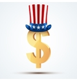 Symbol of the American dollar in Uncle Sam hat vector image