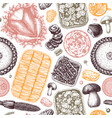 Thanksgiving day table seamless pattern roasted