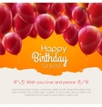happy birthday card with red balloons vector image