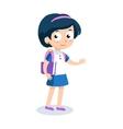 Portrait of teenager girl with school backpack vector image