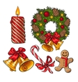 Set of traditional Christmas decoration objects vector image