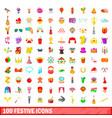 100 festive icons set cartoon style vector image vector image