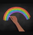 african american hand drawing rainbow vector image