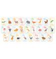 alphabet cards for kids educational preschool vector image vector image