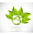 background with globe and leaves vector image vector image