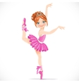 Ballerina girl in pink dress dancing on one leg vector image