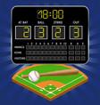 baseball field with scoreboard numbers bat ball