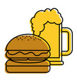 burger and beer glass fast food beverage vector image