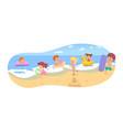 children fun on summer sand beach on vacation vector image vector image