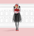 christmas and new year fashion card city vector image vector image