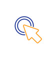 click here line icon push the button sign vector image