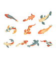 color koi fish icon set on a white background vector image vector image